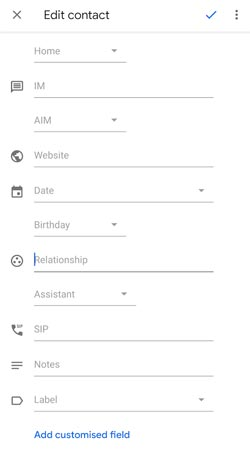 Google Contacts Edit