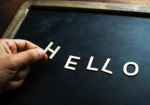 hello letters in black board