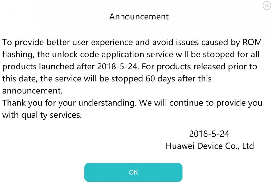 huawei official stopped bootloader unlock