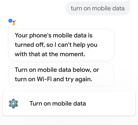 Google assistant turn on mobile data