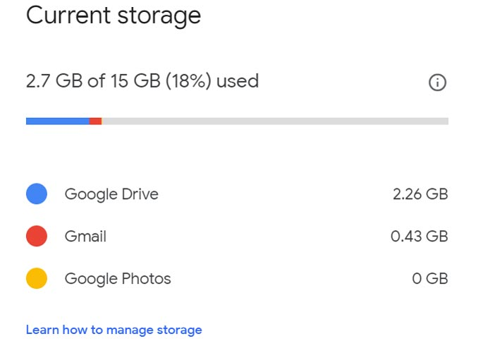Google One Free Plan Storage