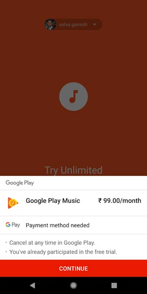 Google Play Music Subsription screenshot