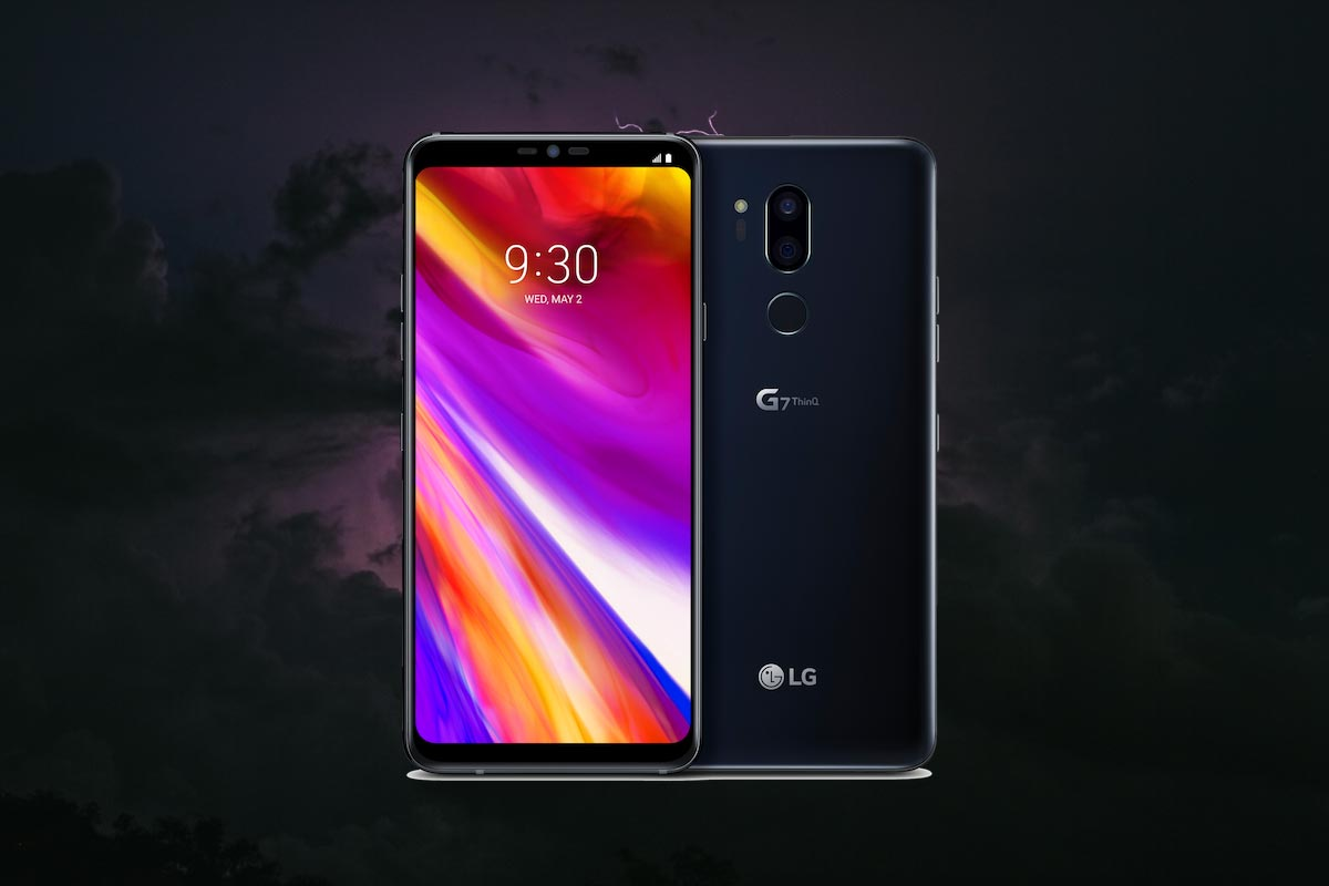 LG G7 ThinQ with Thunder Background