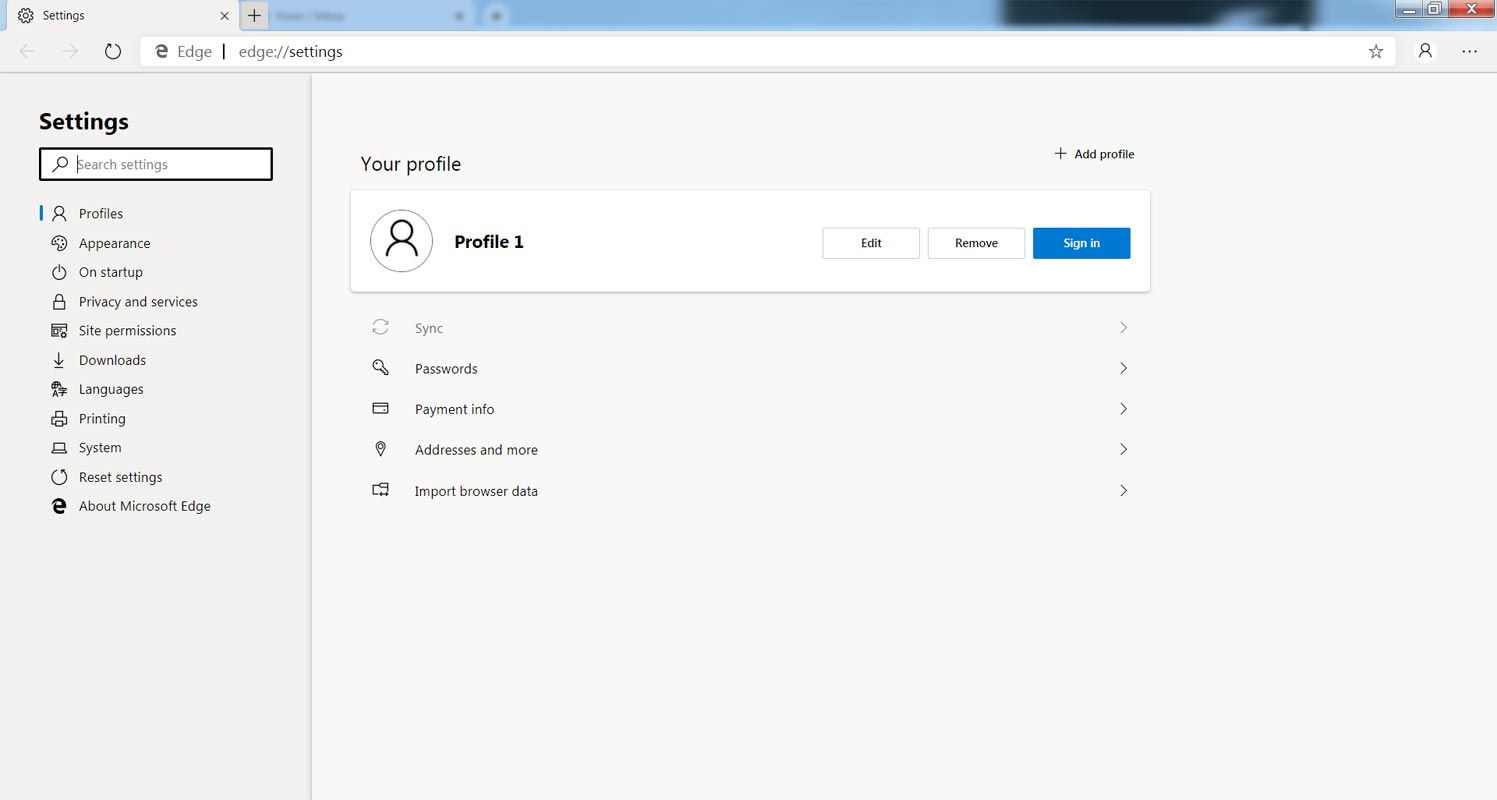 Microsoft Edge Settings Page