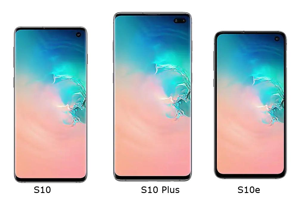 S10 vs. S10 Plus vs. S10e Front Side