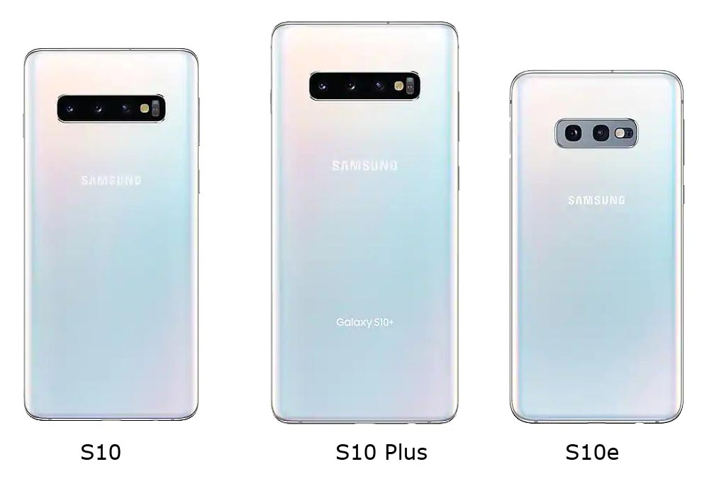 S10 vs. S10 Plus vs. S10e rear