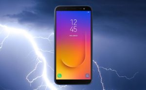 Samsung Galaxy J6 With Thunder Background