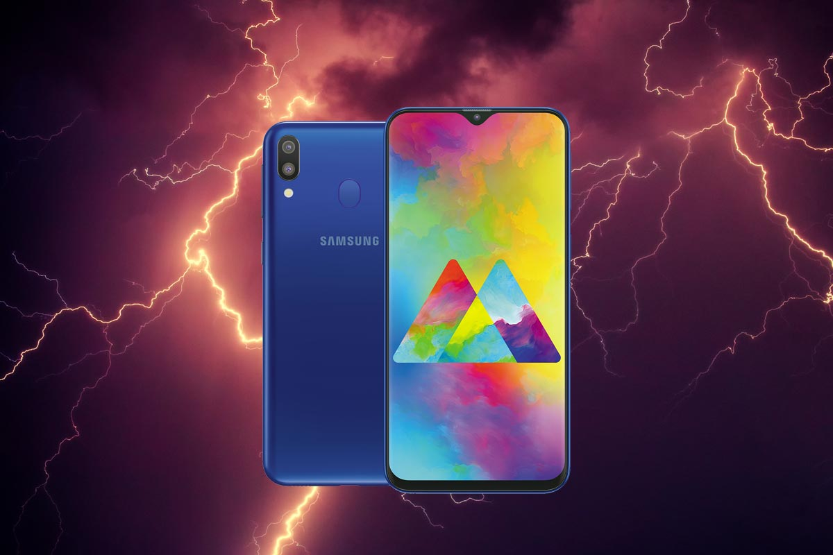 Samsung Galaxy M20 with Thunder Background