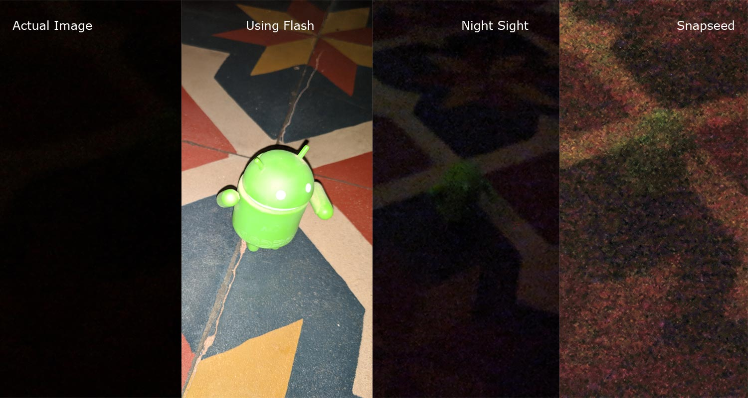 Snapseed Flash Night Sight Image comparision
