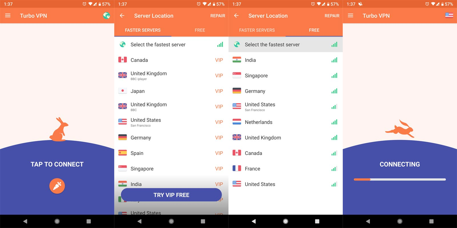 Turbo VPN app screenshots