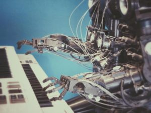 robot composing music in piano