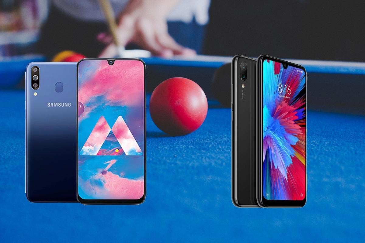 samsung galaxy m30 and redmi note 7 in pool board