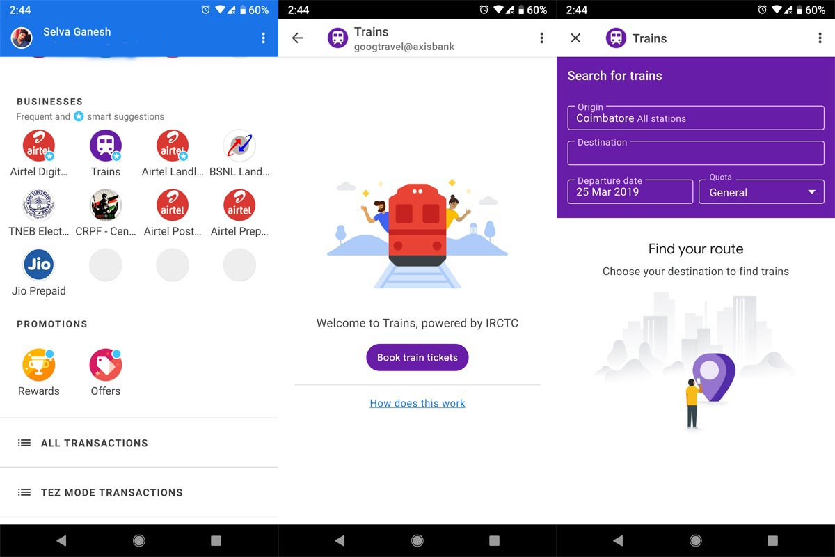 train ticket booking google pay steps