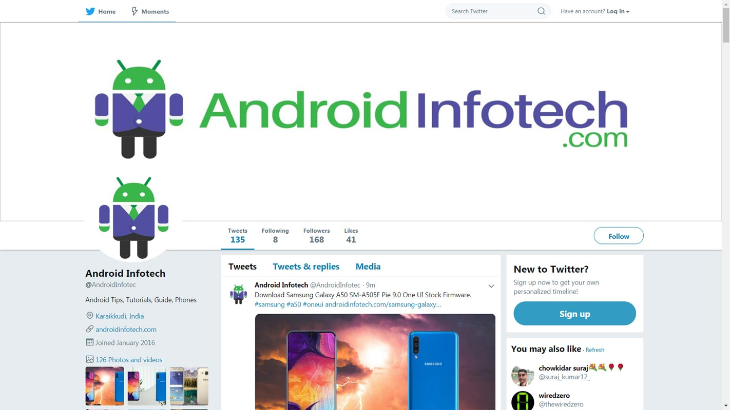 Android Infotech Twitter Page