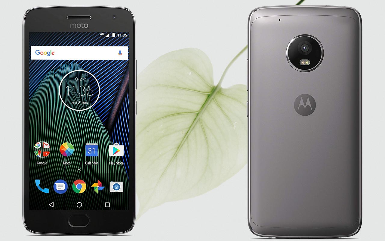 Moto G5 Plus with Leaf Background