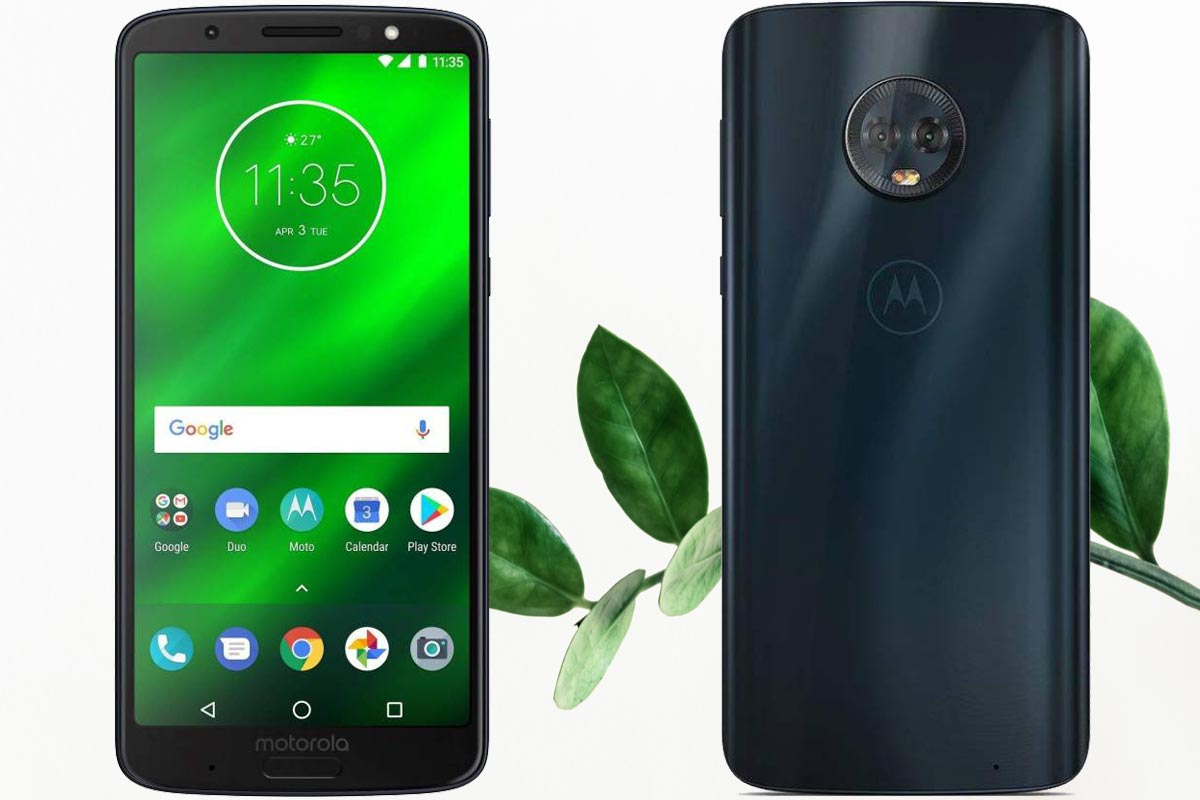 Moto G6 Plus with Leaf Background