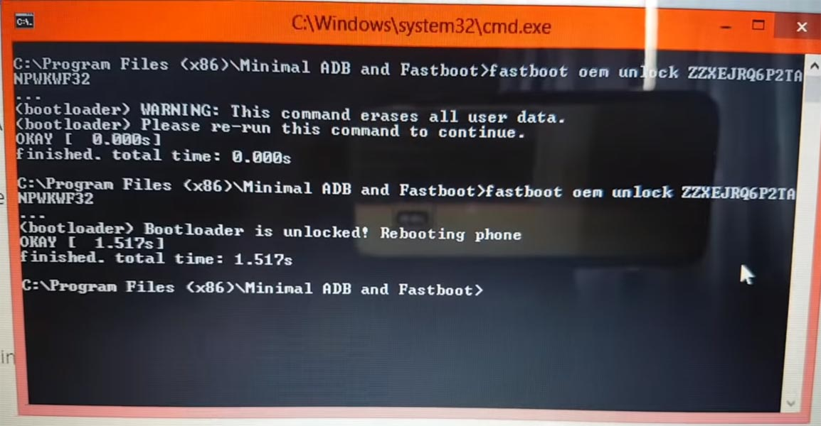 Moto unlock bootloader command