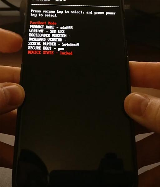 OnePlus 6T Fastboot Mode Warning Screen