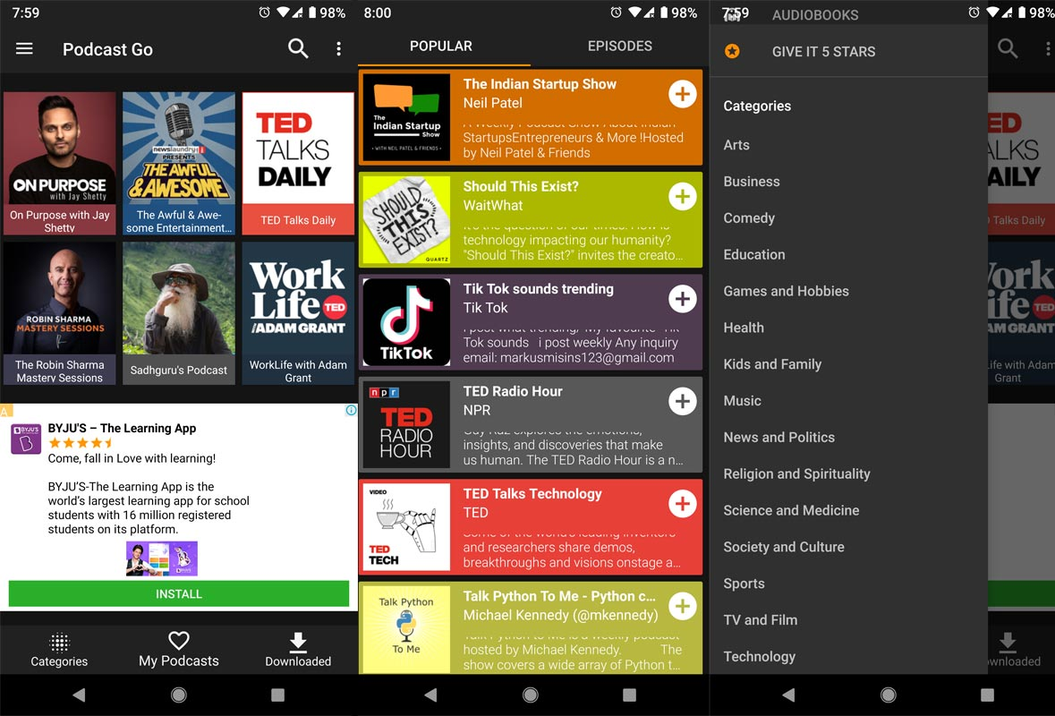 Podcast Go App Screenshots