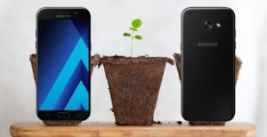 Samsung A5 2017 with Plants Background