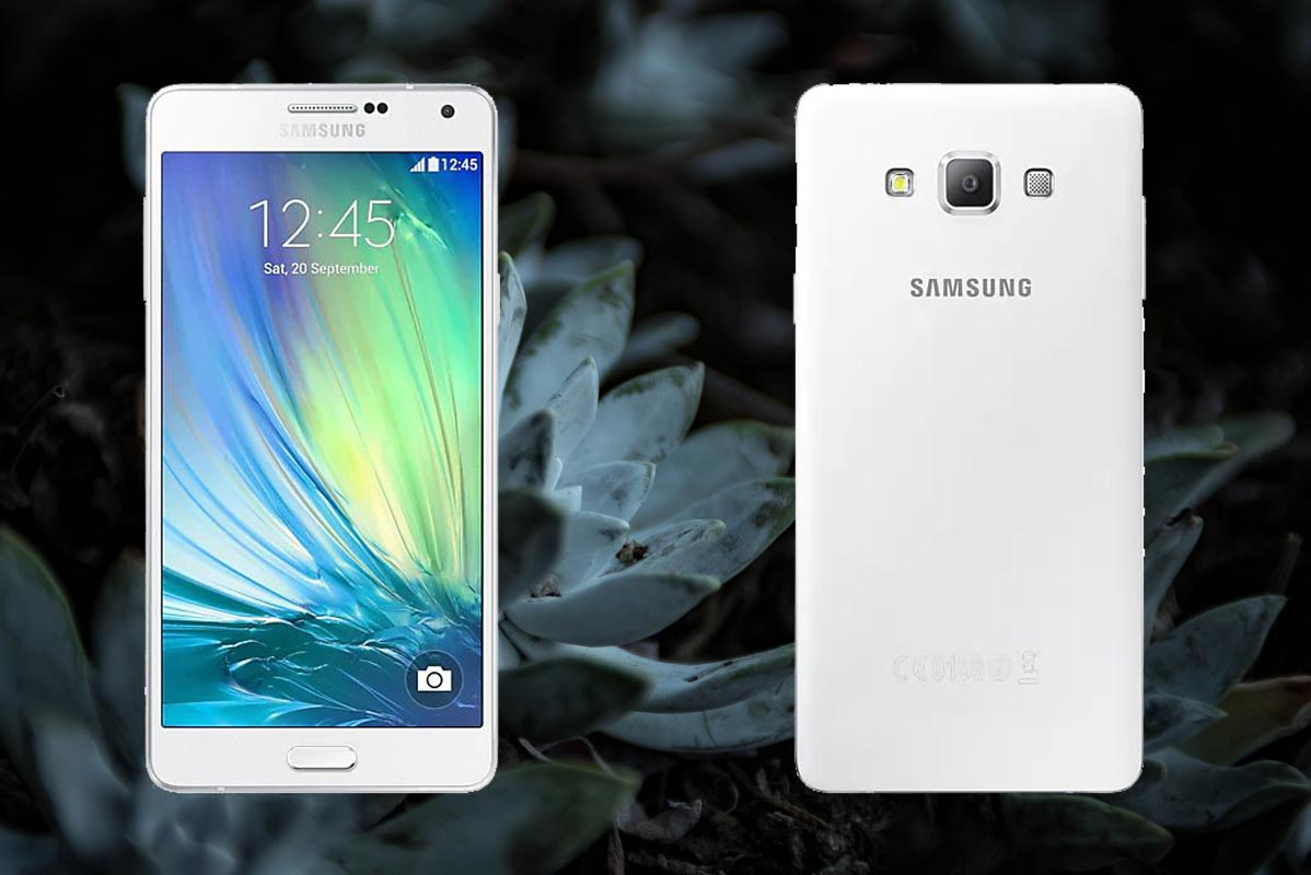 Samsung A7 2015 with Geen Flower Background