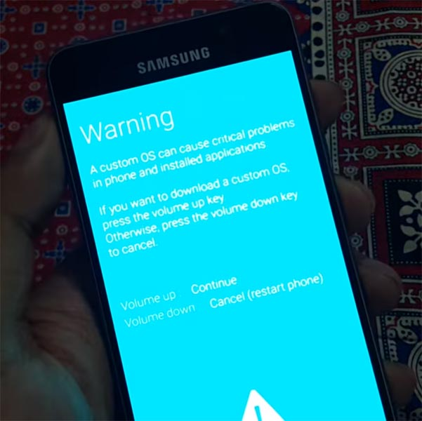 Samsung Galaxy A3 2016 Download Mode Warning Screen