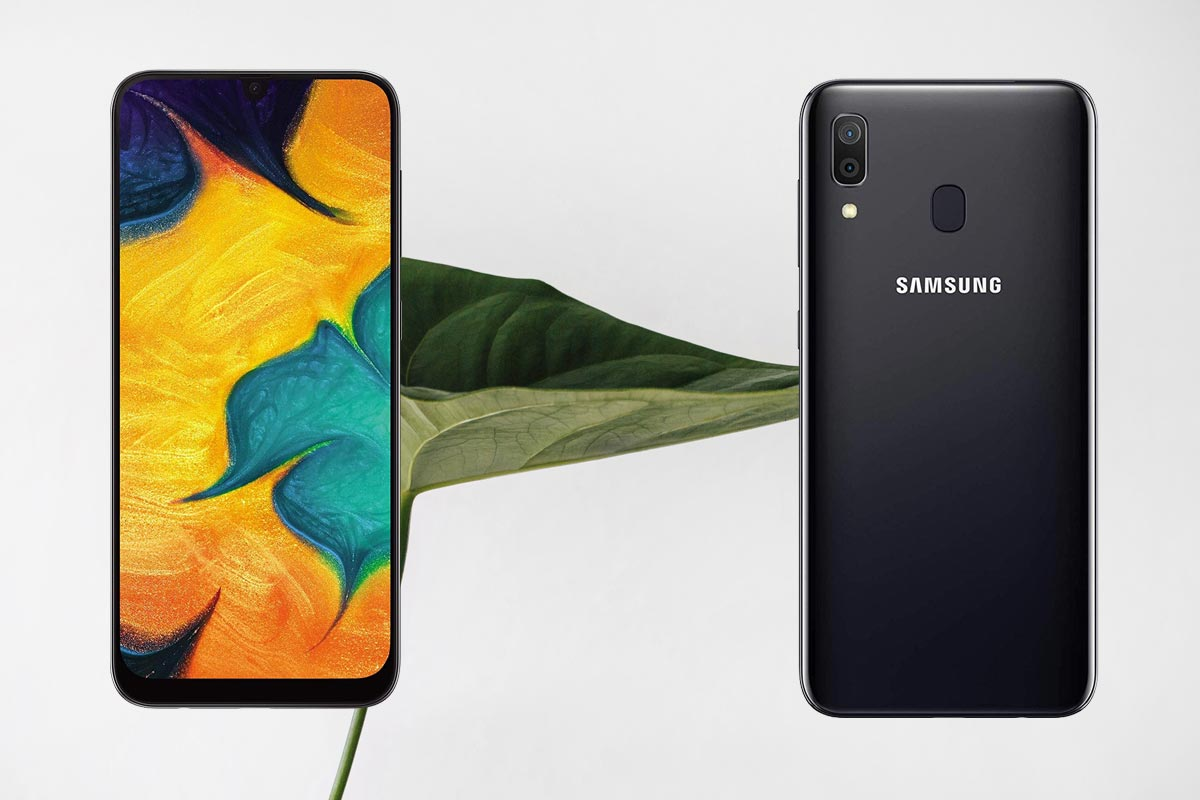 Samsung Galaxy A30 with leaf Background