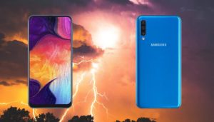 Samsung Galaxy A50 with Thunder background