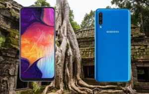 Samsung Galaxy A50 with Tree in Temple Background