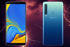 Samsung Galaxy A9 2018 with Thunder Background