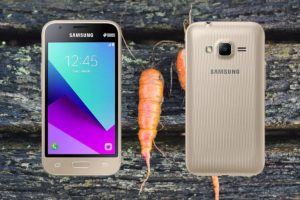 Samsung Galaxy J1 mini prime with Carrot Background