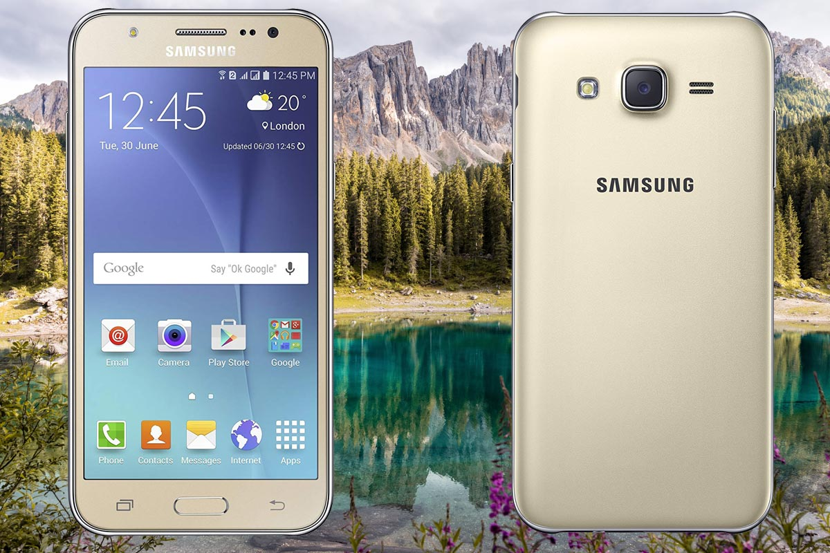 Samsung Galaxy J5 with Mountain Background