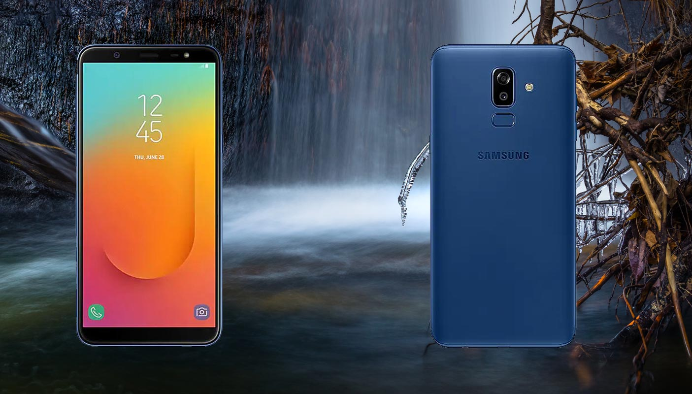 Samsung Galaxy J8 with Nature Water Falls Background