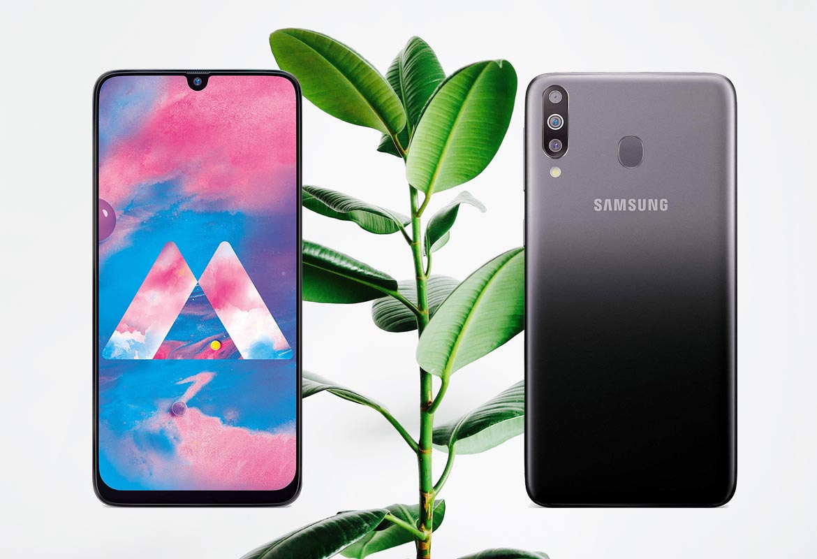 Samsung Galaxy M30 with Plant Background