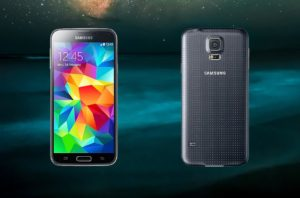 Samsung Galaxy S5 with Galaxy Background