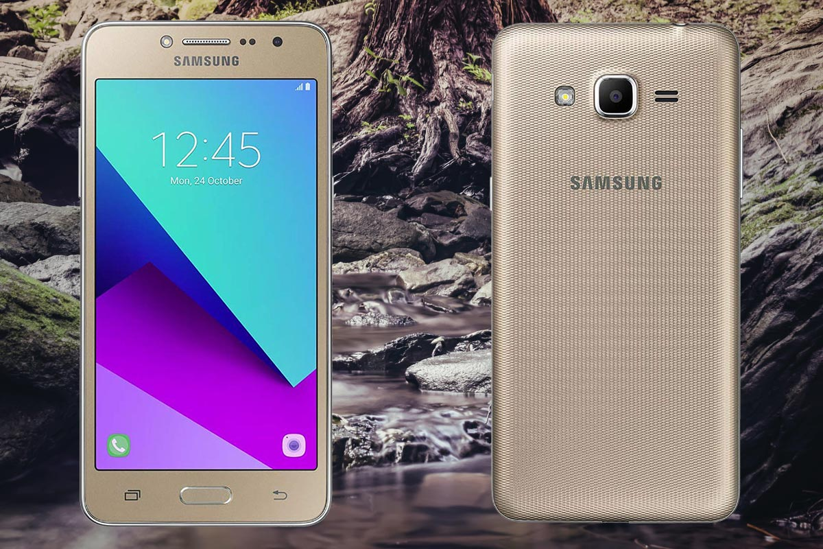 Samsung J2 Prime with Forest Stone Background