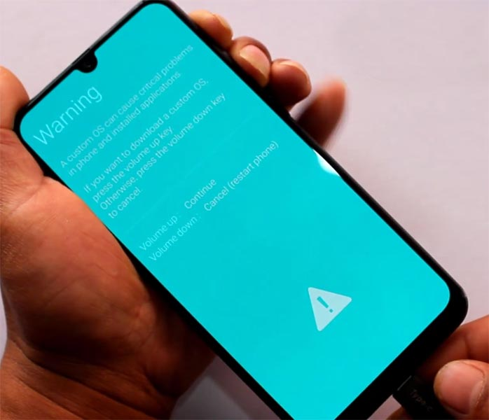 Samsung Galaxy M30 Download Mode Warning Screen