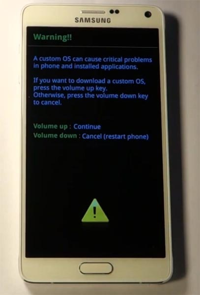 Samsung Note 4 Download Mode Warning Screen