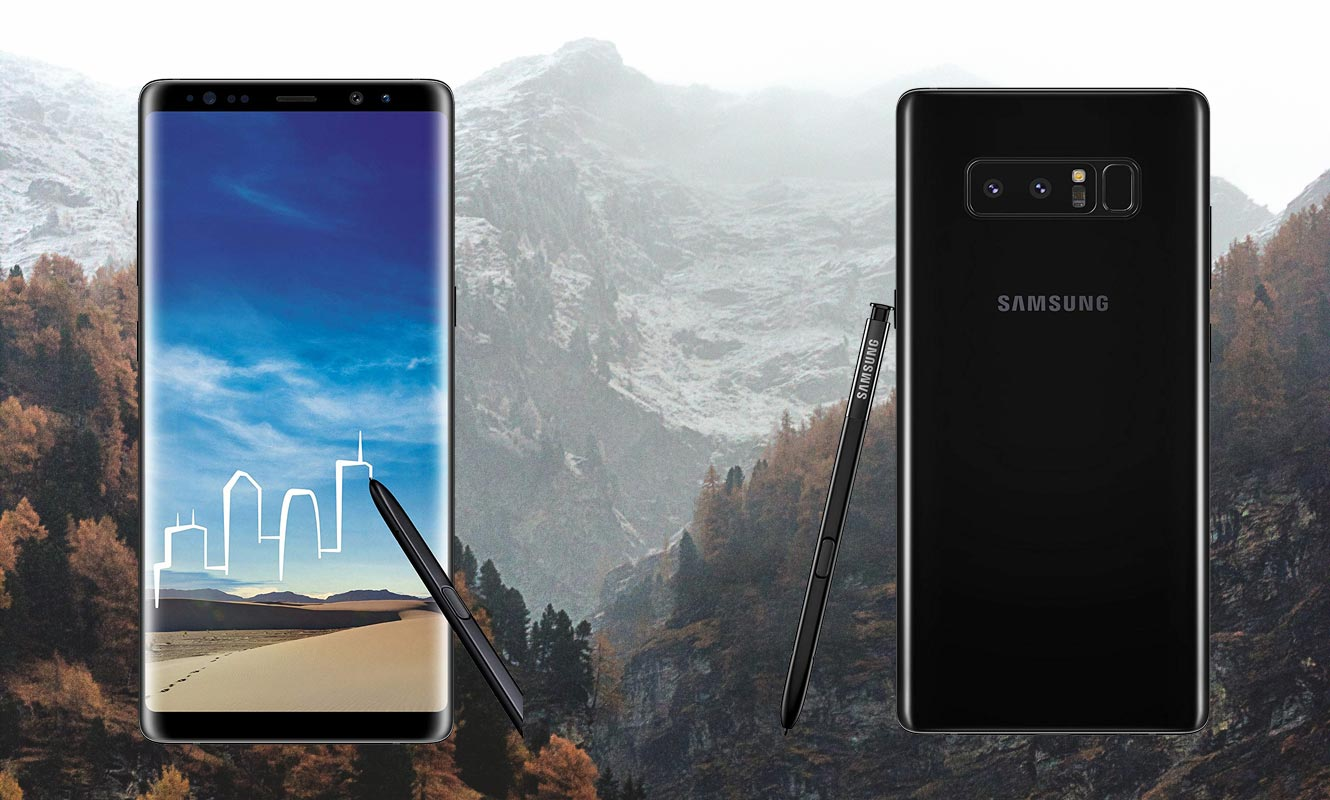 Samsung Note 8 with Snow Mountain Background