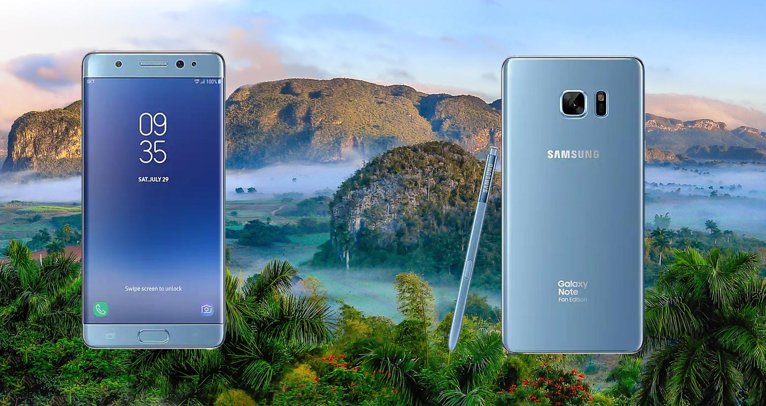 Samsung Note FE With Natural Background