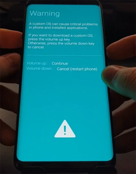 Samsung S9 Download Mode Warning Screen