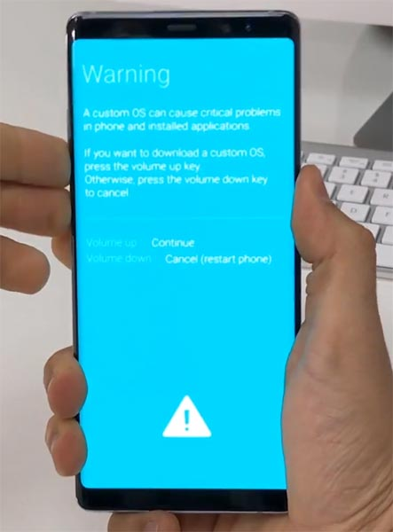 Samsung note 8 Download Mode Warning Message