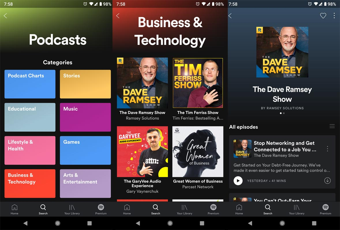 Spotify App Podcast Screenshots