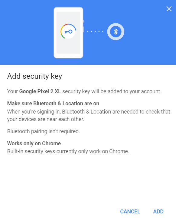 Add Security Key Android Mobile