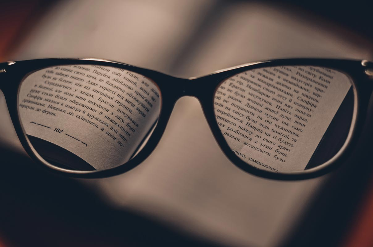 Eye Glass with Book Letters View