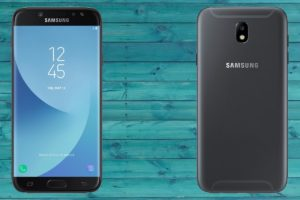 Galaxy J7 Pro with Blue Wood Background