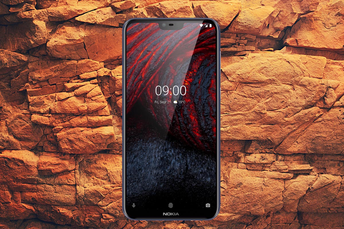 Nokia 6 1 Plus with Rock Background
