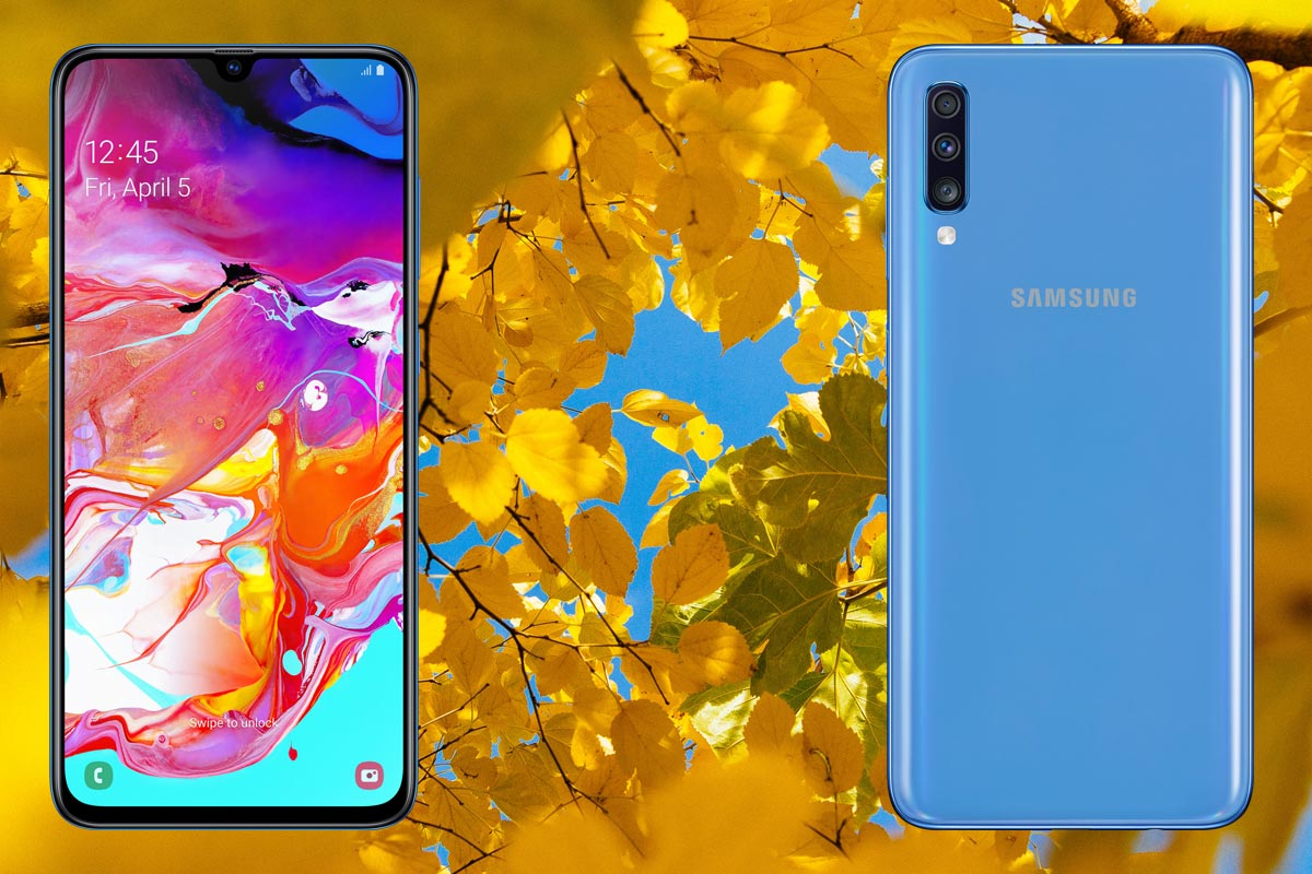 Samsung A70 with Flowers Background