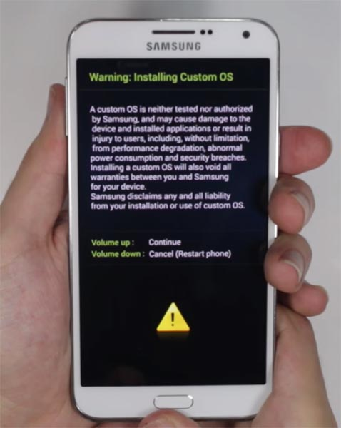 Samsung E7 Download Mode Warning Screen