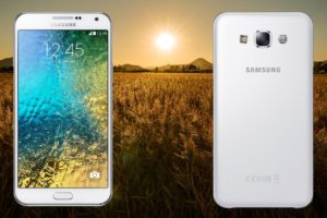 Samsung E7 with Sun Rise in Wheat Field Background